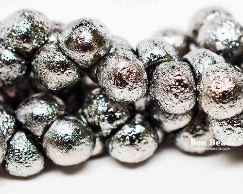 9x8mm Bright Chrome Etched Wide Cap Mushroom Buttons (150 Pieces)