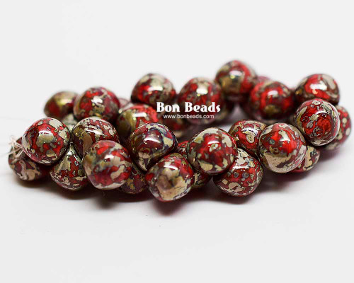 7mm Coral Metallic Picasso Wide Cap Mushroom Buttons (150 Pieces)