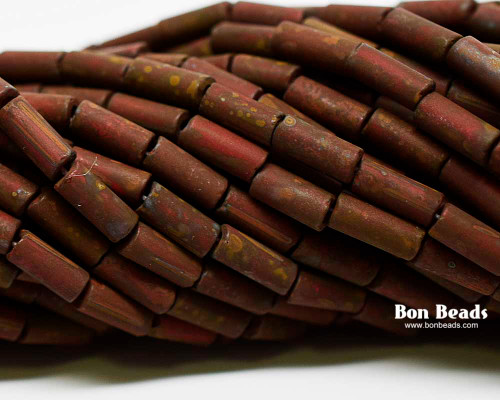 9x4mm Aged Wampum Red Matted Picasso Bugle (1/4 Kilo)