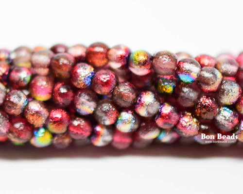4mm Magic Ruby Etched Smooth Round Druks (600 Pieces)