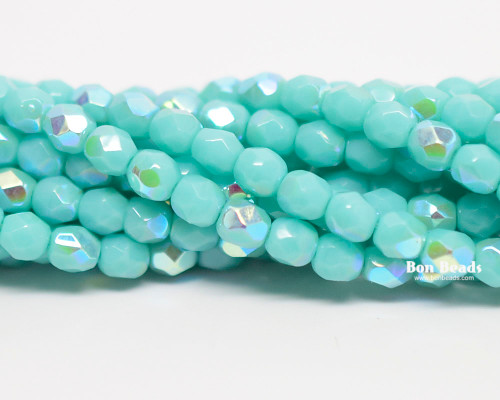 4mm Green Turquoise AB Round Fire Polished (600 Pieces)