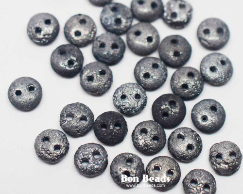 6mm Old Charcoal Etched 2 Hole Loose Lentils (600 Pieces)