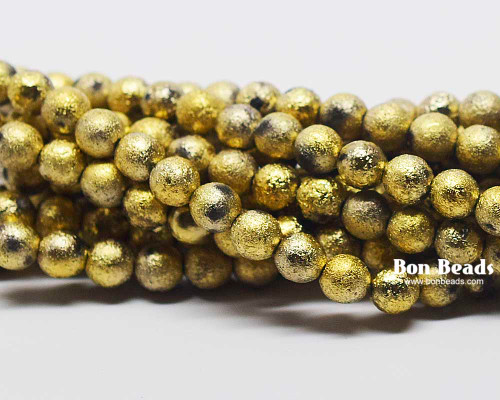 6mm Gold Ore Etched Round Smooth Druks (300 Pieces)