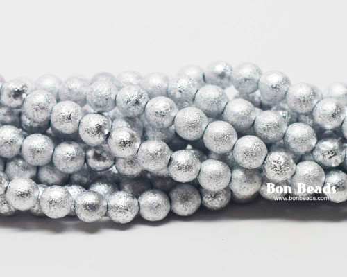 6mm Silver Ore Etched Round Smooth Druks (300 Pieces)