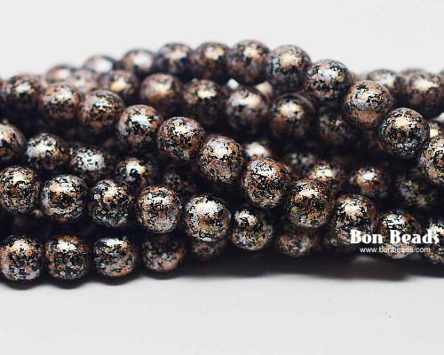 6mm Granite Galaxy Gold Round Smooth Druks (300 Pieces)