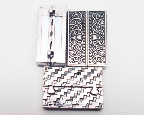 22x33x8mm Heart Etched Silver Magnetic Bar Clasp (Each)