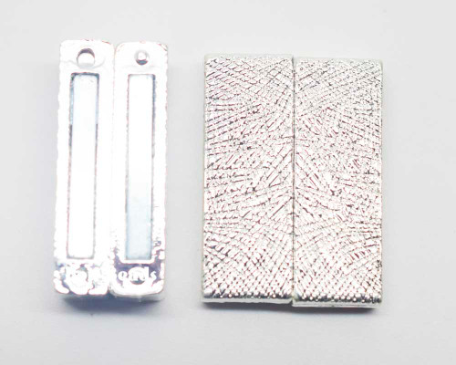 23x31x7mm Silver Magnetic Etched Bar Clasp (Each)