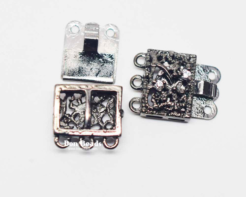 18x17x7mm Six Hole Gunmetal Box Clasps with Rhinestones (Each)