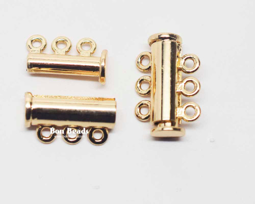 20x13.5x7mm Six Hole Gold Slide Tube Magnetic Clasp (Each)