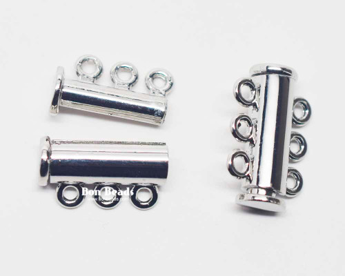 20x13.5x7mm Six Hole Silver Slide Tube Magnetic Clasp (Each)