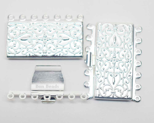 26x36x5mm Silver Etched Fourteen Hole Box Clasp (Each)