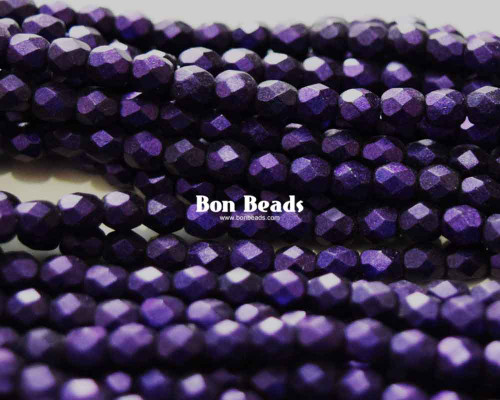 4mm Heavy Eggplant Round Fire Polished (600 Pieces)