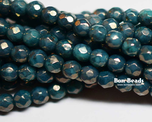 4mm Turquoise Moon Dust Round Fire Polished (600 Pieces)