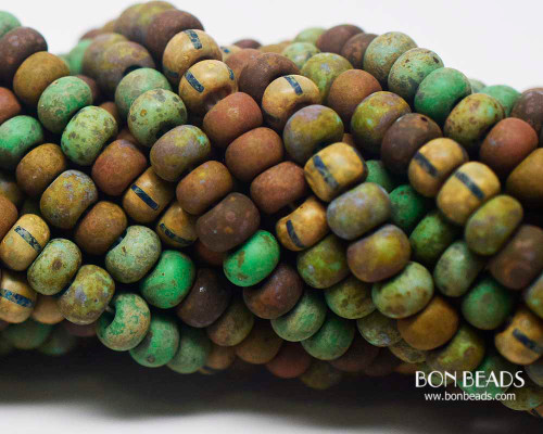 1/0 Aged Matted Rouge Jade Turquoise Multi Striped Picasso Mix (1/4 Kilo)