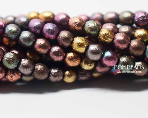 4mm Metallic Iris Mix Etched Smooth Round Druk (600 Pieces)