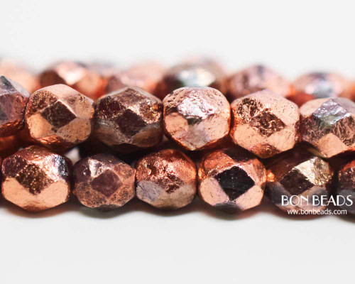 6mm Copper Ore Etched Round Fire Polished (300 Pieces)