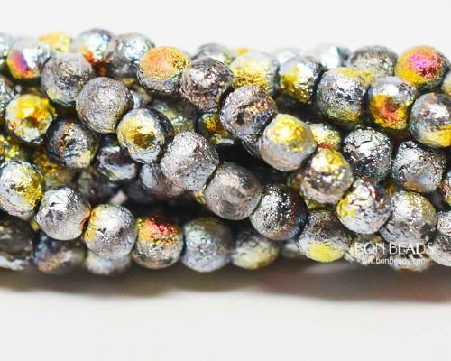 4mm Etched Misty Metallic Iris Smooth Round Druk (600 Pieces)