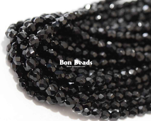 4mm Black Round Fire Polished (600 Pieces)