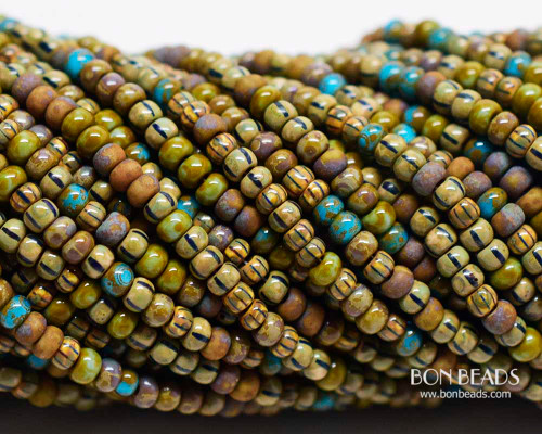 8/0 Aged French Spring Striped Picasso  Mix (1/4 Kilo)