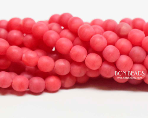 6mm Matted Coral Agate Round Smooth Druks (300 Pieces)