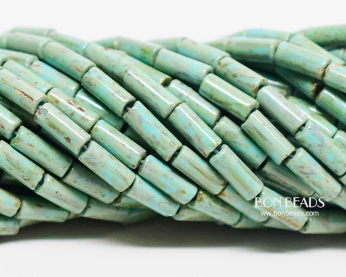 9x4mm Aged Wampum Green Turquoise Picasso Bugle (1/4 Kilo)