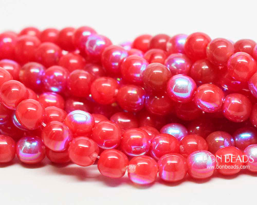 6mm Coral Agate AB Round Smooth Druks (300 Pieces)
