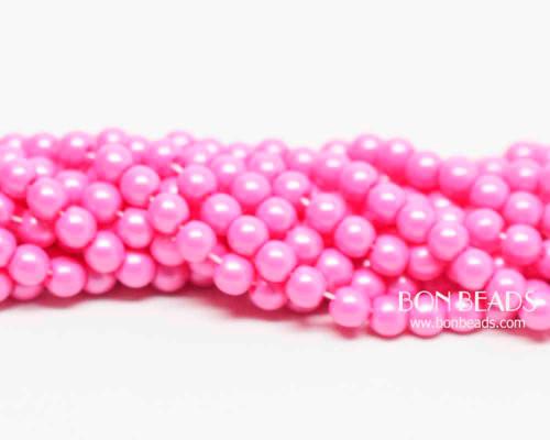 4mm Fuchsia Pink Smooth Round Druk (600 Pieces)