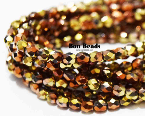 4mm California Gold Round Fire Polished (600 Pieces)