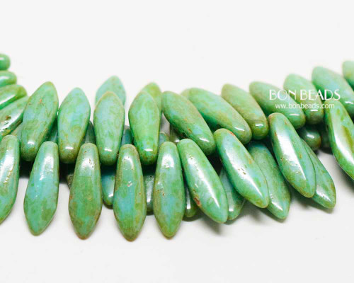 5x16mm Green Turquoise Picasso 2 Hole Daggers (300 Pieces)