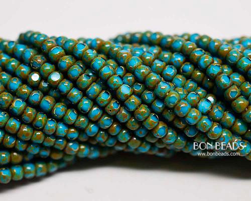 6/0 3 Cut Aqua Turquoise White Heart Picasso (1/4 Kilo)