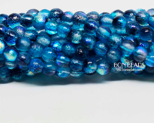 4mm Etched Denim Celestial Smooth Round Druk (600 Pieces)