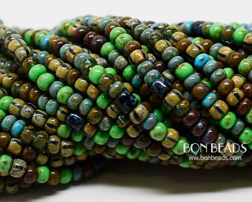 6/0 Aged Chameleon Tube Picasso Mix (1/4 Kilo)
