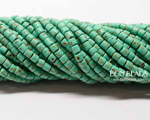 6/0 Aged Green Turquoise Picasso Bugles (1/4 Kilo)