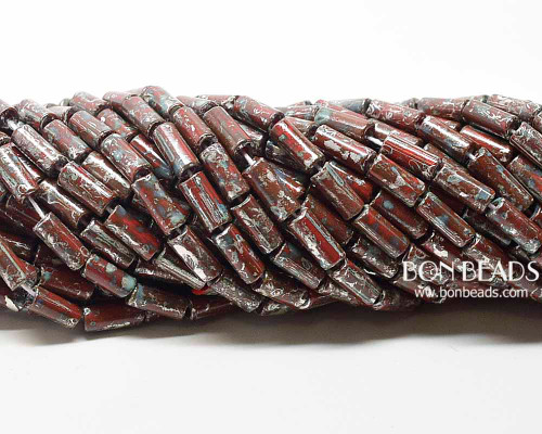 9x4mm Aged Wampum Red Metallic Picasso Bugle (1/4 Kilo)
