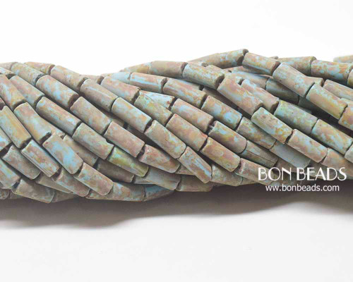 9x4mm Aged Wampum Matted Blue Turquoise Metallic Picasso Bugle (1/4 Kilo)