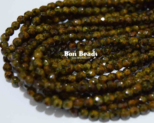 4mm Round Fire Polished - Mineral Mosaic Moss Green