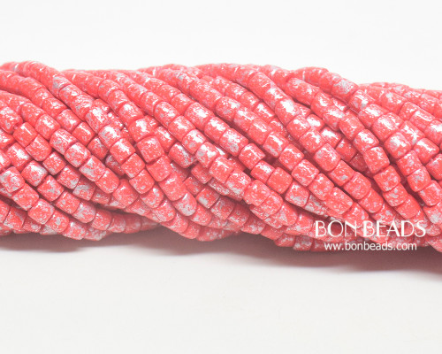 6/0 Aged Red Silver Bugles (1/4 Kilo)