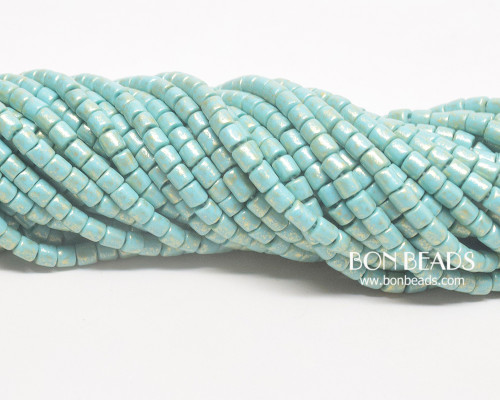 6/0 Aged Green Turquoise Gold Bugles ( 1/4 Kilo)