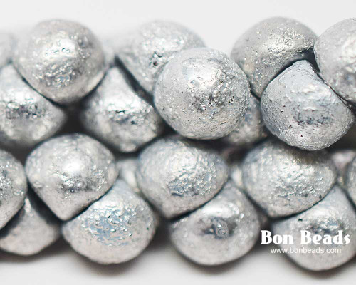 9x8mm Silver Ore Etched Wide Cap Mushroom Buttons (150 Pieces)