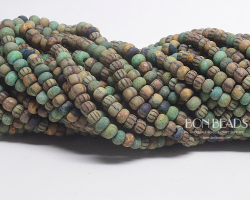5/0 Aged Matted Jade Striped Picasso Mix (1/4 Kilo)