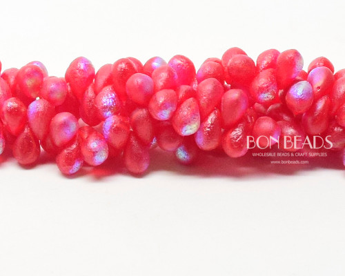 4x6mm  Scarlet Etched AB Drops (300 Pieces)