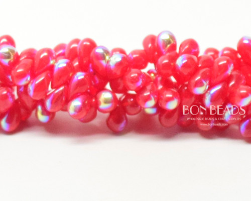 4x6mm  Scarlet  AB Drops (300 Pieces)