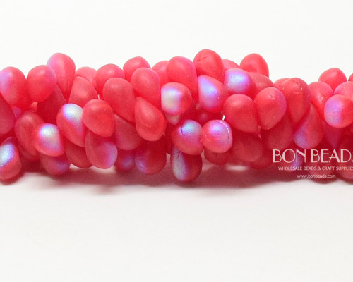4x6mm  Matted Scarlet  AB Drops (300 Pieces)