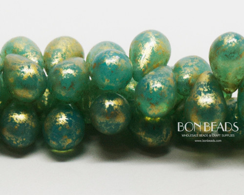 6x9mm Caribbean Turquoise Gold Drops (150 Pieces)
