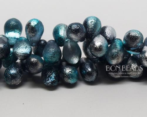 6x9mm Etched Azure Celestial Drops (150 Pieces)