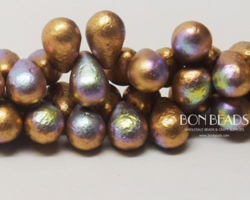 6x9mm Etched Aztec Gold AB Drops (150 Pieces)
