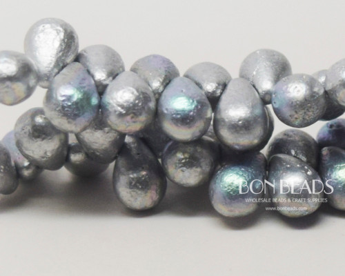 6x9mm Etched Silky Silver AB Drops (150 Pieces)