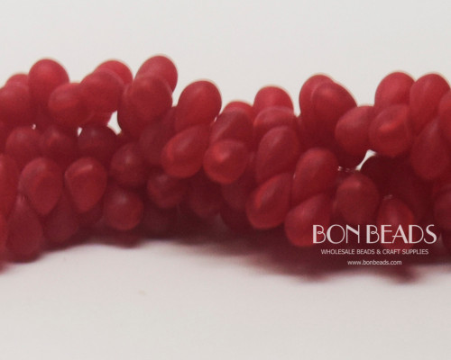 4x6mm Scarlet Matted Drops (300 Pieces)