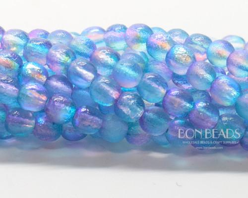6mm Aqua Celestial Etched Round Smooth Druks (300 Pieces)