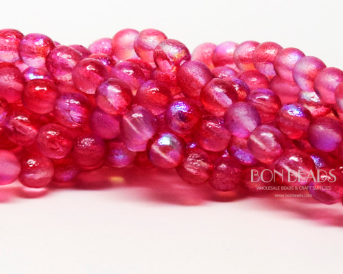 6mm Rose Celestial Etched Round Smooth Druks (300 Pieces)